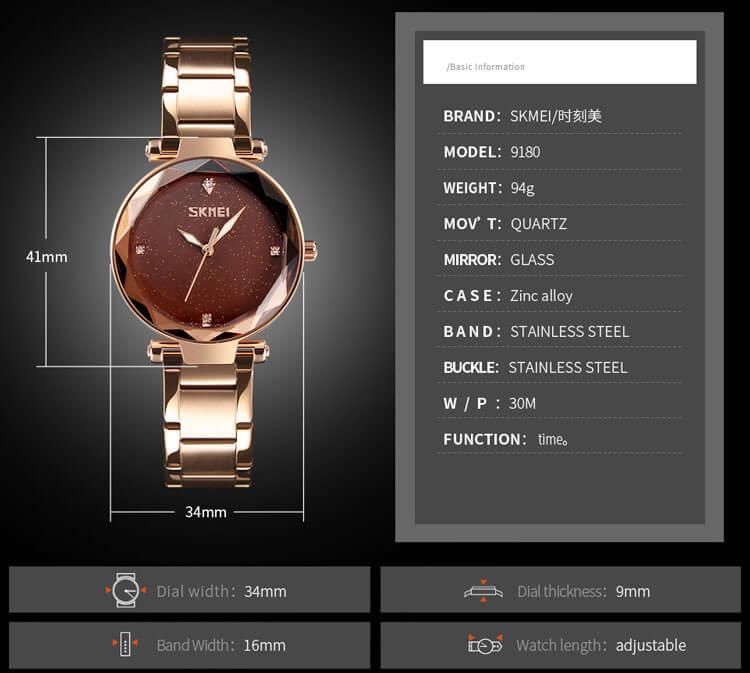 đồng hồ nữ skmei 9180